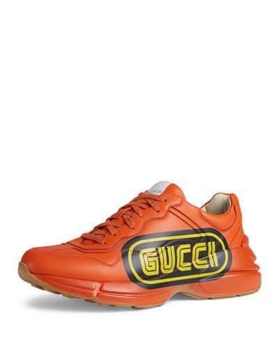 Gucci Men's Rhython Logo-Print Leather Sneakers