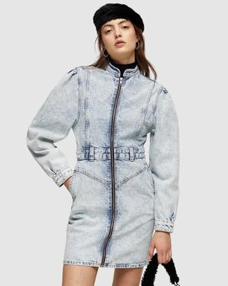 Topshop Long Sleeve 80s Acid Denim Shirt Dress