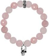 King Baby Studio Sterling Silver Rose Quartz Skull Charm Bracelet