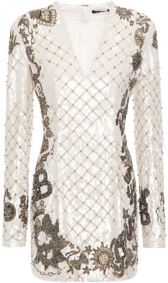 Balmain Embellished Sequined Crepe Mini Dress