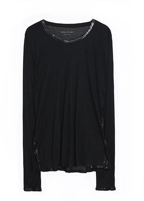 Zadig & Voltaire Willy Black/Silver Foil Long Sleeve Tee