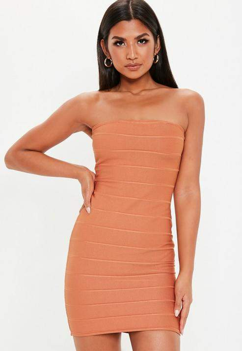 5a8eb777ca4 Orange Bandeau Dress - ShopStyle UK