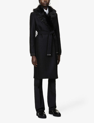 Ted Baker Corinna faux-fur trim wool-blend coat