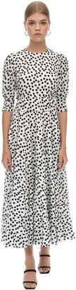 Rixo Open Back Cotton & Silk Midi Dress