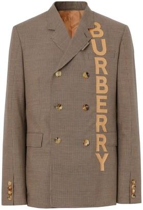Burberry Slim Fit Logo Print Cotton Wool Blend Tailored Jacket