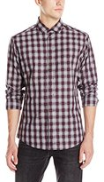Vince Camuto Men's Plaid Point-Collar Long-Sleeve Button-Down Shirt