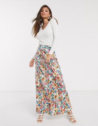 Neon Rose maxi skirt in vintage floral