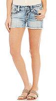 Miss Me Thick Stitch Frayed Hem Stretch Denim Cutoff Shorts