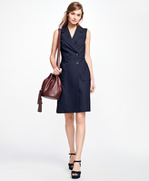 Brooks Brothers Sleeveless Wool-Blend Wrap Dress