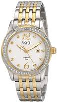 Burgi Women's BUR102TTG Silver and Yellow Gold Quartz Watch with White Dial and Silver and Yellow Gold Bracelet