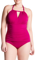 Tommy Bahama Pearl High Neck Halter One-Piece Swimsuit (Plus Size)