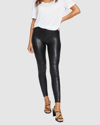 Spanx Women's Black Leather Pants - Quilted Faux Leather Leggings - Size One Size, XS at The Iconic