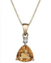 Macy's Citrine (1-1/10 ct. t.w.) and Diamond Accent Pendant Necklace in 14k Gold
