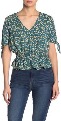 CODEXMODE Smocked Peplum Floral Print Tie Sleeve Top