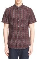 Paul Smith Men's Extra Trim Fit Rose Print Short Sleeve Sport Shirt