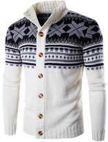 Minibee Men's Snowflake Fashion Sweater Cardigan Coat Waist Length M