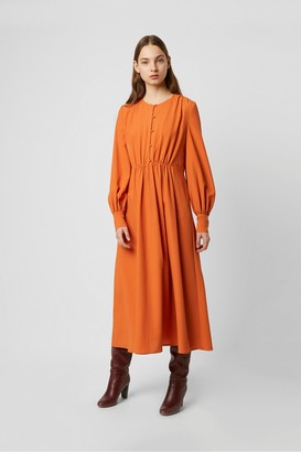 French Connection Essi Crepe Round Neck Midi Dress