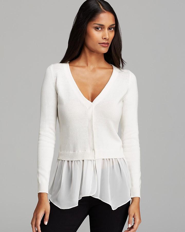 AQUA Sweater - Chiffon Trim
