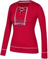 adidas Women's Heathered Red Washington Capitals Skate Through Long Sleeve Lace-Up V-Neck T-Shirt