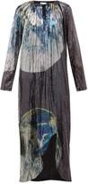 Ganni Earth-print Front-slit Sequinned Dress - Womens - Multi