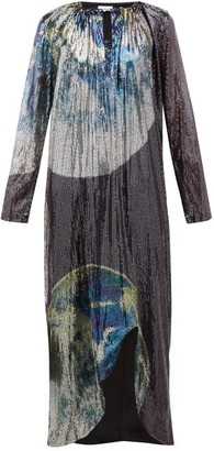 Ganni Earth-print Front-slit Sequinned Dress - Womens - Multi