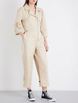 Frame Cropped high-rise cotton-twill jumpsuit
