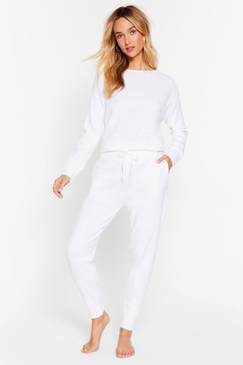 Nasty Gal Womens Weekend Loading Knit Jumper and Joggers Lounge Set - White - S