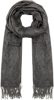 Johnstons of Elgin Paisley Shimmer Grey Cashmere-Blend Scarf