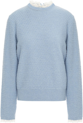 Sandro Lace-trimmed Textured Wool-blend Sweater