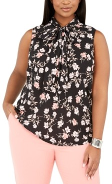 Bar III Trendy Plus Size Floral-Print Blouse, Created for Macy's