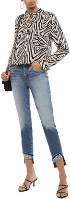 Current/Elliott The Turnt Stiletto Cropped Studded Mid-rise Skinny Jeans
