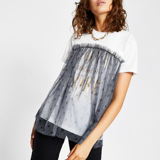 River Island Womens Cream short sleeve mesh slogan t-shirt