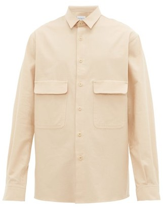 Raey Chest Pocket Brushed Cotton Twill Shirt - Mens - Light Brown