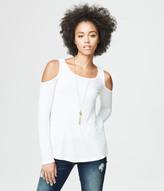 Long Sleeve Ribbed Cold-Shoulder Top