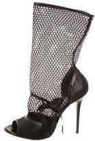 Gianmarco Lorenzi Mesh Peep-Toe Ankle Boots