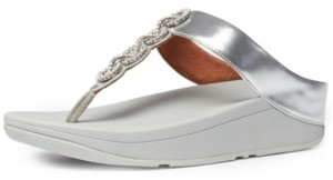 FitFlop Women's Fino Sparkle Thong Wedge Sandals Women's Shoes
