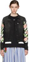 Off-White Black Denim Diagonal Tulips Slim Jacket