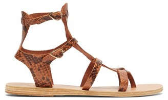 Ancient Greek Sandals Stephanie Snake-effect Leather Gladiator Sandals - Womens - Brown Multi