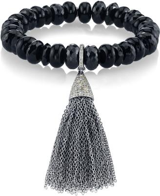 Sheryl Lowe Pave Tassel Onyx Bracelet