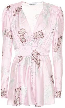 Paco Rabanne Embellished floral satin top