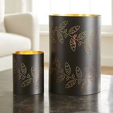 Crate & Barrel Sprig Metal Hurricane Candle Holders