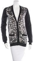Lanvin Wool Silk-Blend Printed Cardigan
