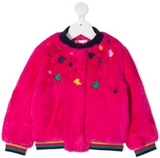 Billieblush Embroidered Stars Fur Jacket