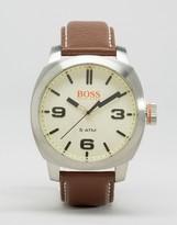 BOSS ORANGE By Hugo Boss Capetown Leather Watch In Brown