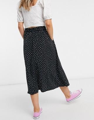 Monki Sigrid midi skirt in spot print
