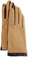 Portolano Cashmere-Blend Leather-Cuffed Tech Gloves, Camel/Brown