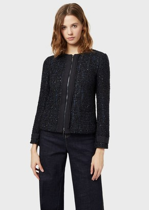 Emporio Armani Tweed Jacket With Zip