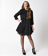 Ryu Vintage Style Black & Cream Dot Button Down Bow Dress Coat