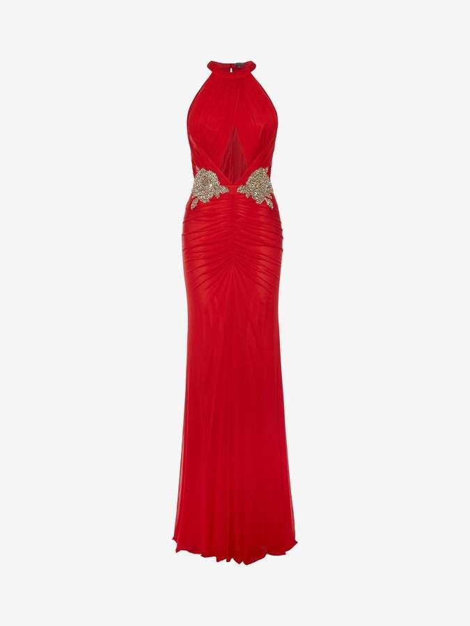 Alexander McQueen Halterneck Embroidered Evening Dress