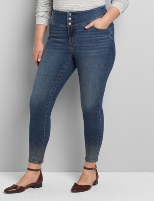 Lane Bryant High-Rise 3-Button Jegging - Rhinestone Hem